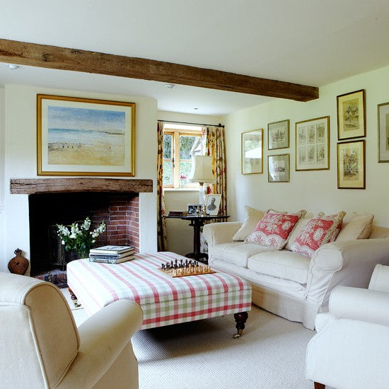 Country living room with exposed wood beams