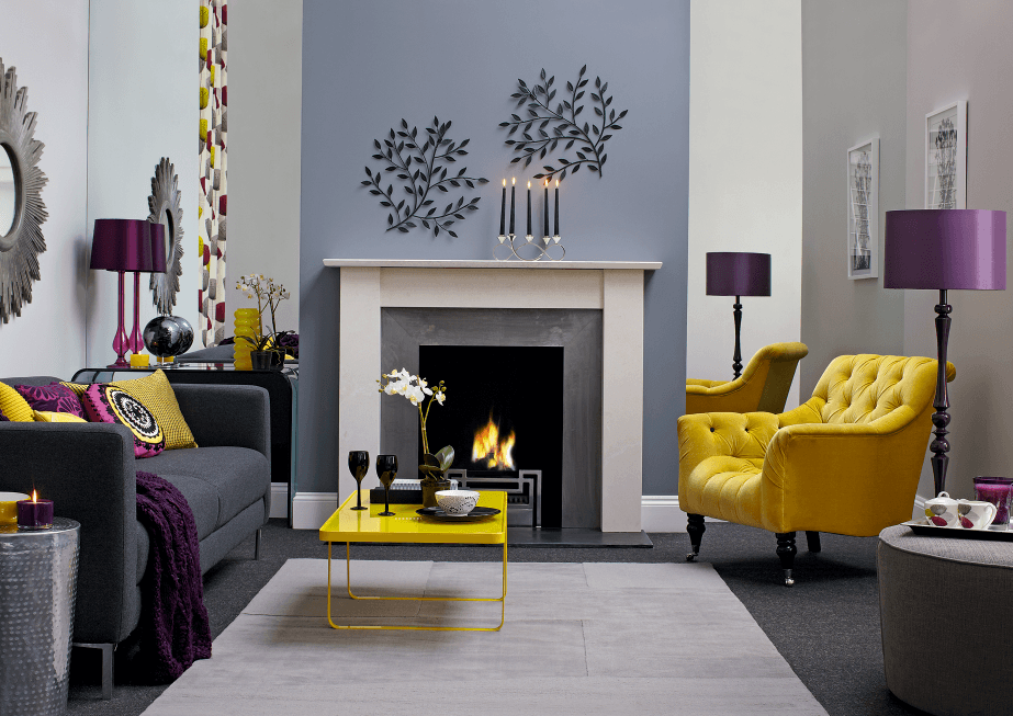 Purple, Yellow And Dusky Blue Modern Living Room