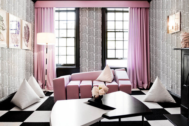 Ultra Modern Black, White And Grey Living Room With Pink Curtains