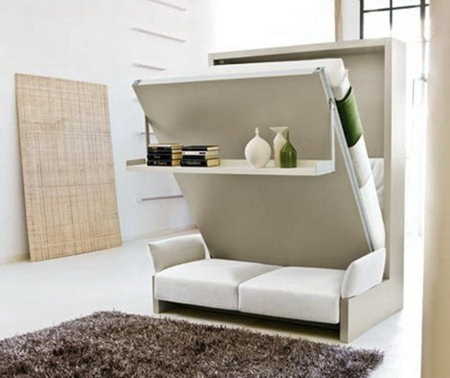 Queen Bed That Folds Away Transforming Into Sofa And Shelf