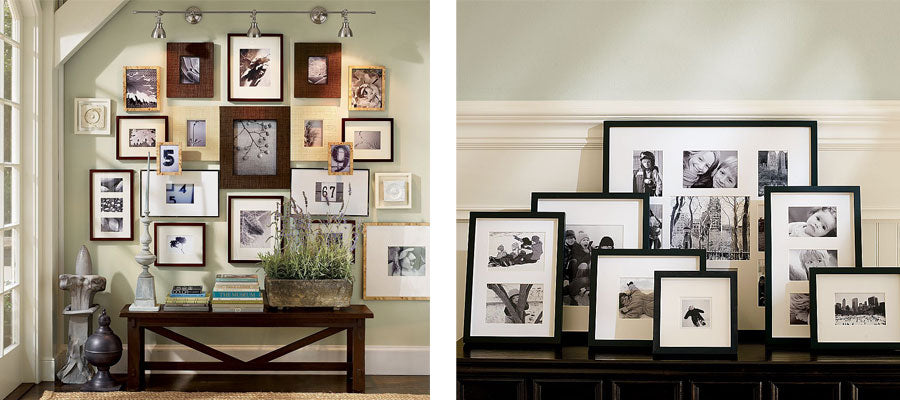 Photo wall with lots of picture frames