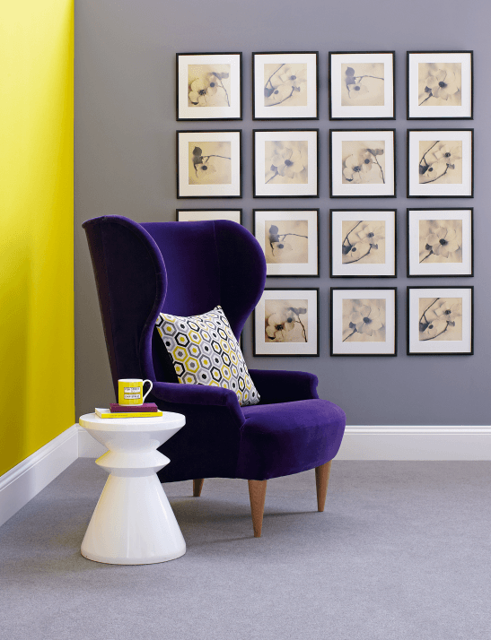 Yellow On Left Wall, Grey On Back Wall With Purple Armchair In The Corner