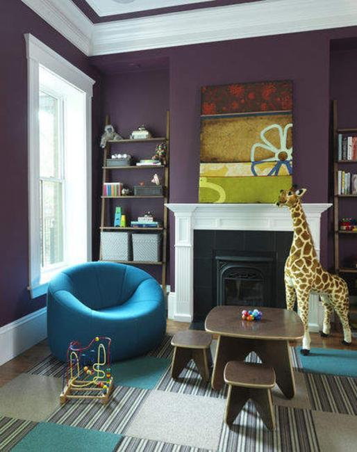 Purple Living Room With Blue Bean Bag Chair And Full Size Baby Giraffe Ornament Or Toy