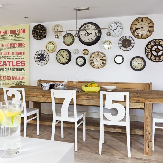 Quirky Dining Room, White Number Chairs And Clock Collection