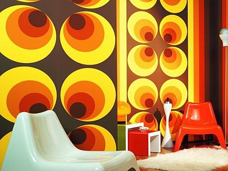 1960s wall design with brown background and concentric irregular positioned circles in yellow, orange, red and brown