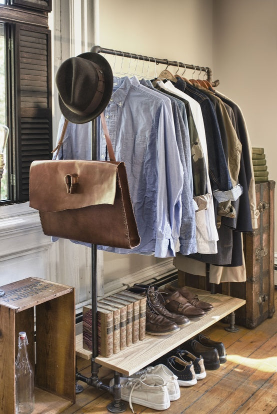 An industrial style clothes rail made from old pipes