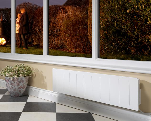 Black and white checked tile floor in a conservatory