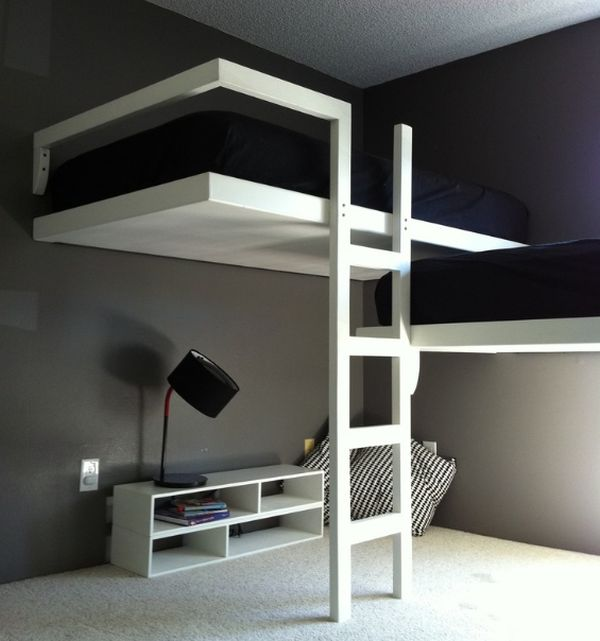 Adult modern bunk bed in white and black