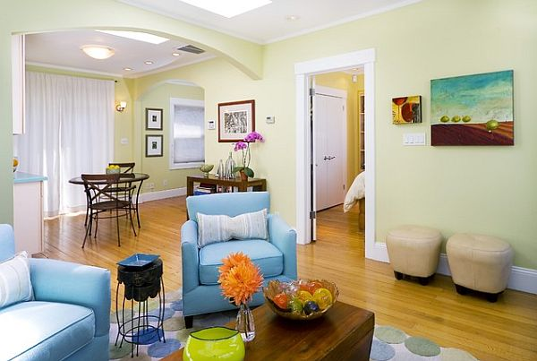 Light Green Living Room With Blue Chair And Sofa