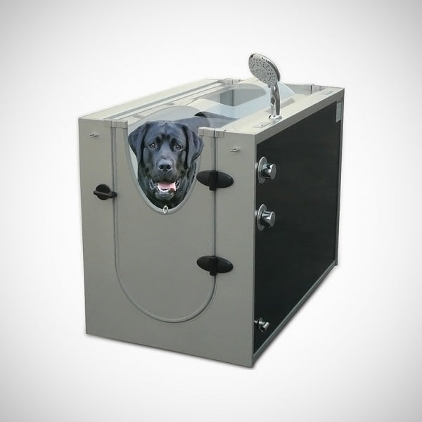 a home dog washing machine with a photoshopped dog inside of it