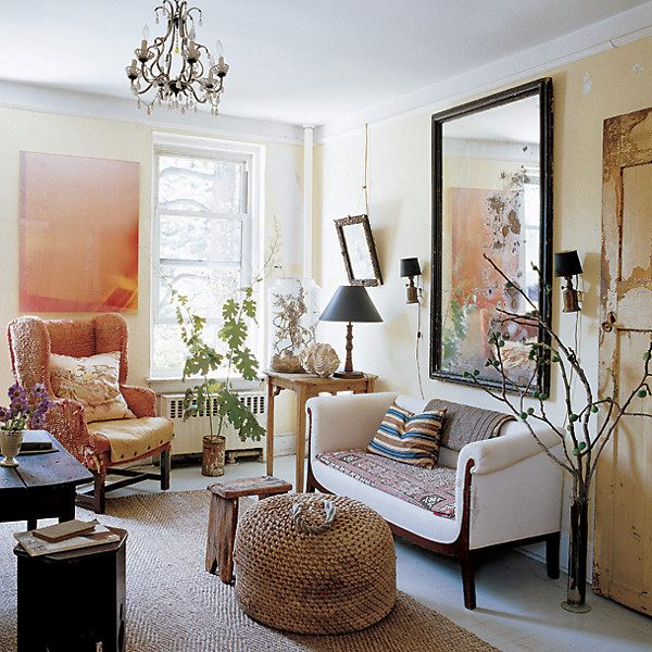 Funky Living Room With Hessian Rug, Hessian Beanbag And Large Traditional Mirror