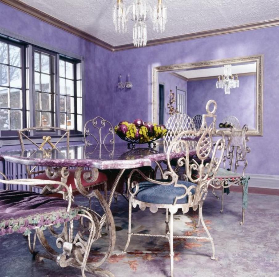 Quirky Eclectic Purple Dining Room