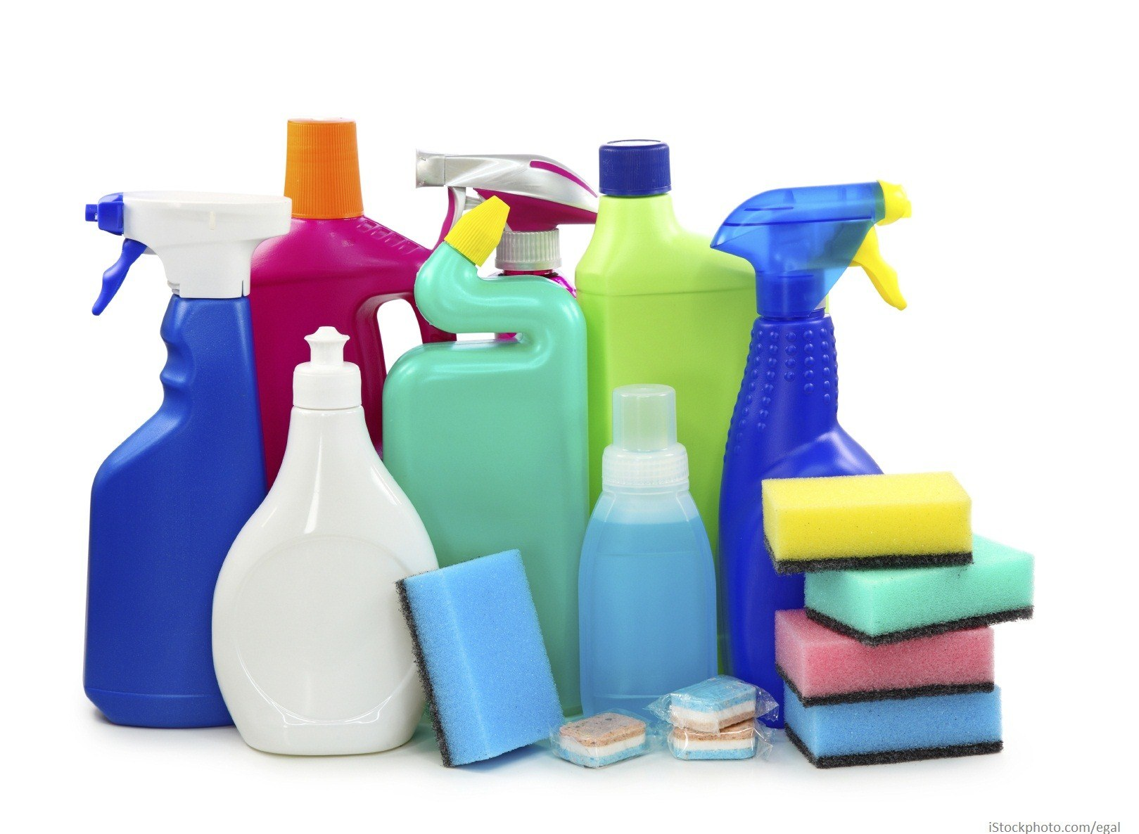 Cleaning products, sponges and dish washer or washing machine tablets