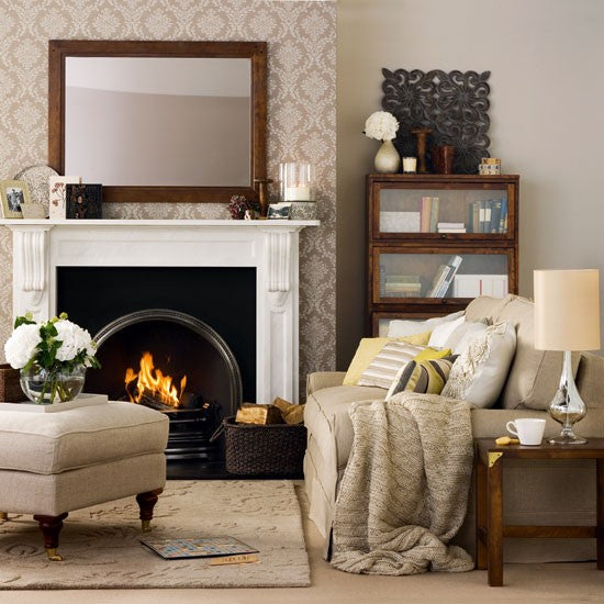Stylish Cost Living Room In Beige, With Real Fire