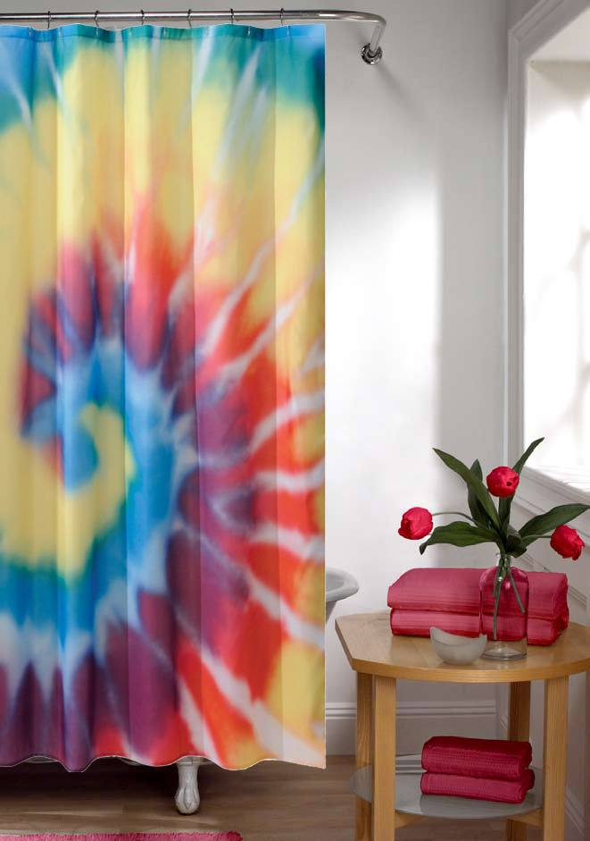 Tie dye shower curtain in bright colours
