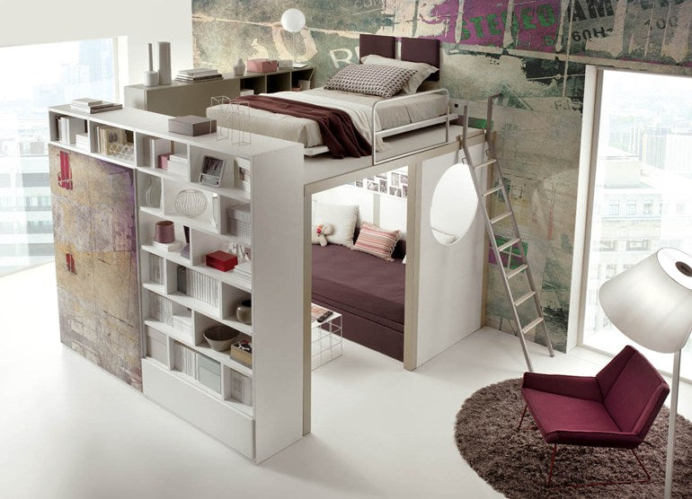 Raised loft bed with sofa space underneath