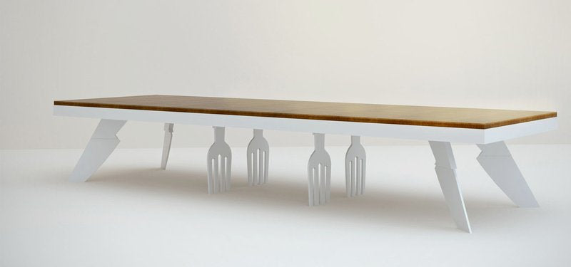 Unusual Dining Table With Fork And Knife Legs