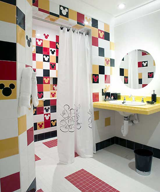 Disney Themed Mickey Mouse Bathroom, In White, Black, Red And Orange
