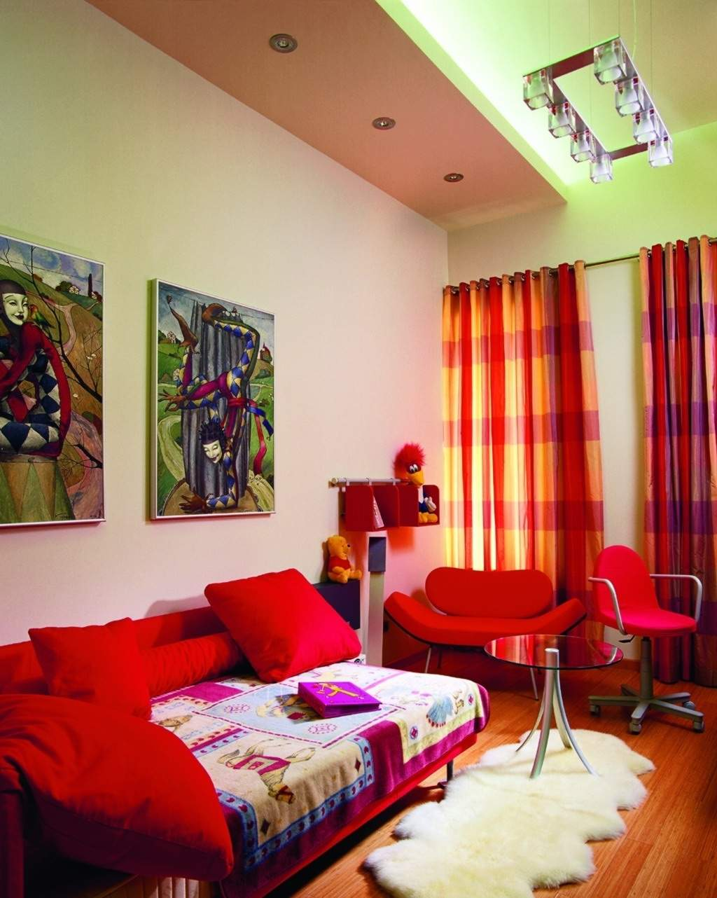Bright Green, Red And Orange Living Room