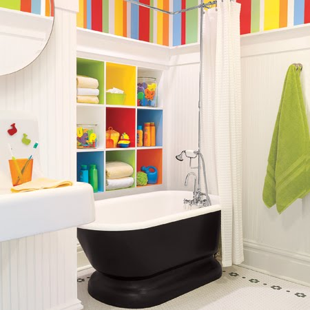 Kids Bathroom, With Black Tub And Funky Coloured Stripes