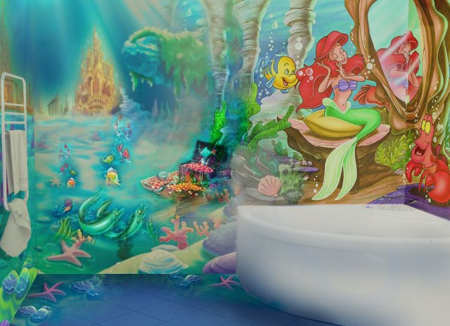 Kids Bathroom Under The Sea Style, With Ariel And Flounder