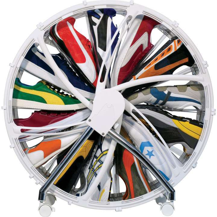 Rotating shoe storage that looks like a small Ferris wheel