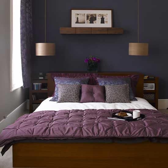 Dark blue and purple bedroom