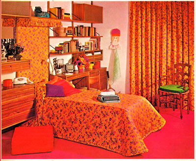 Vivid orange bedroom