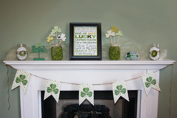 Saint Patricks day clover themed mantle piece