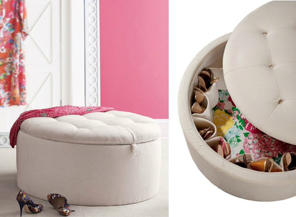 White ottoman style shoe storage in a white and pink room