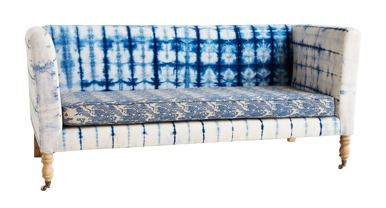 Blue and white tie dye sofa