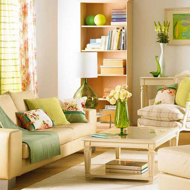 Spring Decor Living Room With Creams And Greens