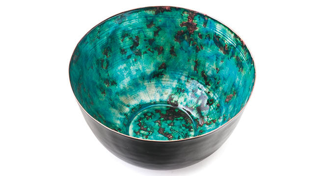Emerald green coloured fruit bowl