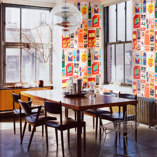 Funky Food Wallpaper In A Dining Room
