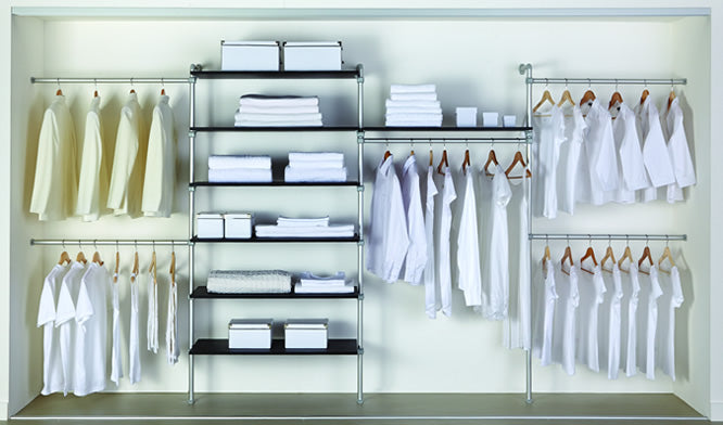 Metal piper shelves, with multiple clothes rails and shelves