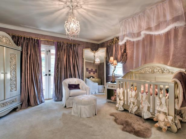 Luxury nursery room in rose gold and cream