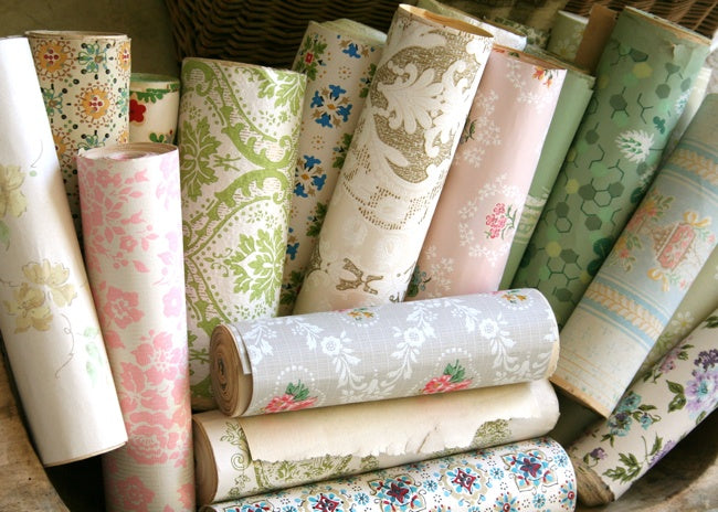 Different rolls of wallpaper