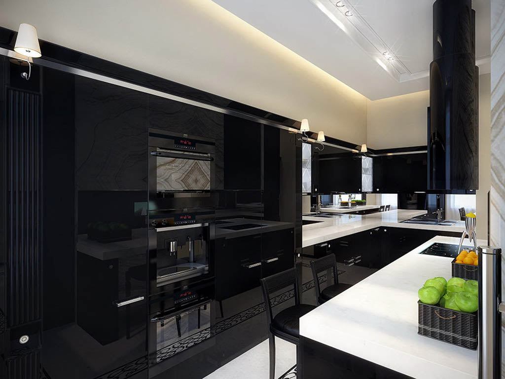 Black and white kitchen, with black units and white counter top