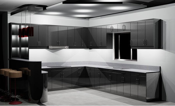 Contemporary black and white kitchen with light grey flooring and walls