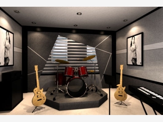 Black and white music room with red drum kit and natural wood guitars