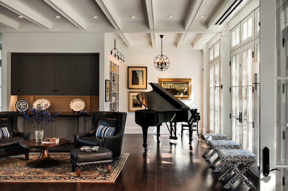 Grand piano in a music nook of a beach house style living room