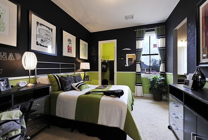 Green, Black And White Teenage Boys Bedroom