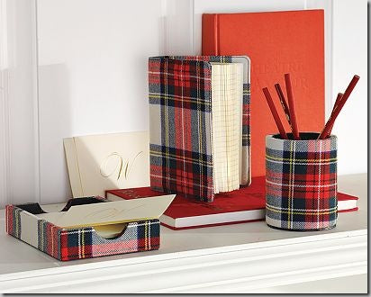 Paper tray, book and pencil holder covered in red and grey tartan paper