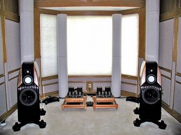 Music room with two large speakers