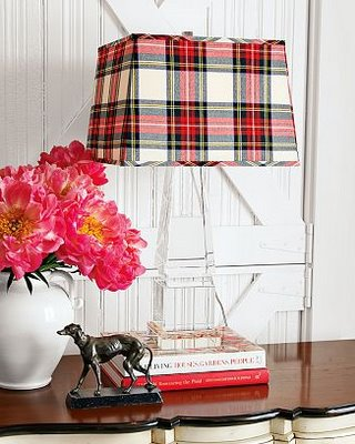 Red and cream tartan lamp shade on a transparent table lamp