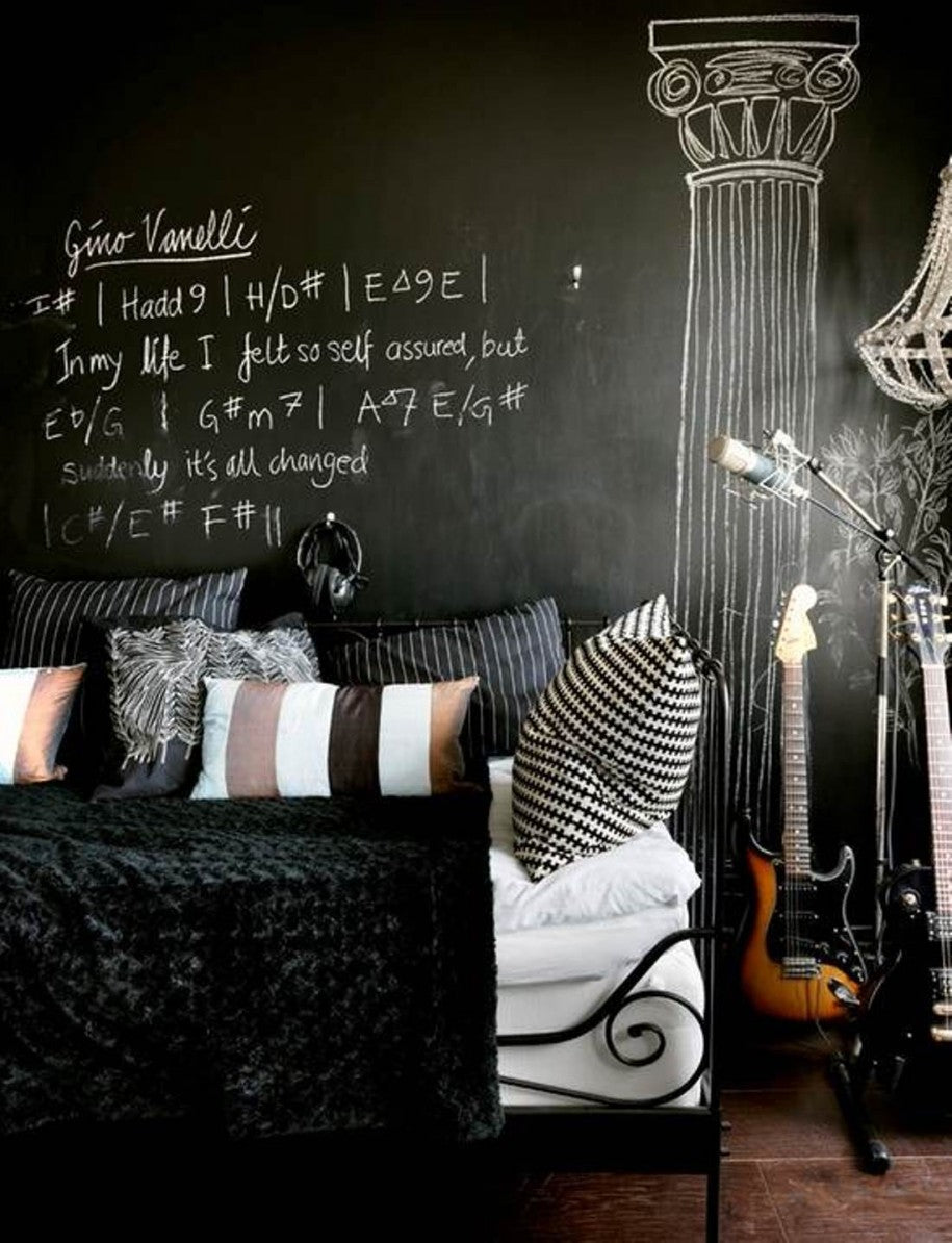 Cool Black Room For Teenager Musicians With Chalk Writing Of Guitar Cords On The Wall