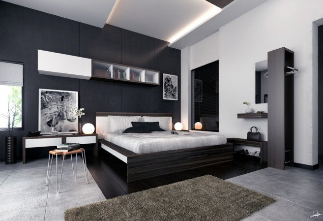 Black And white Modern Bedroom, With Floating Shelves And Funky Globe Lamps