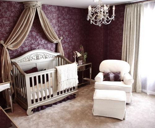 Beige and purple nursery with gold cot and canopy