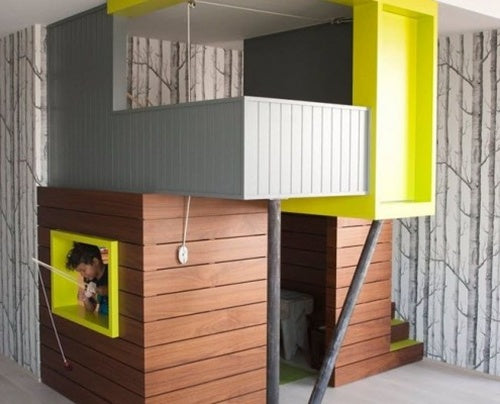 Funky modern bunk bed, that looks like two tree houses on top of each other