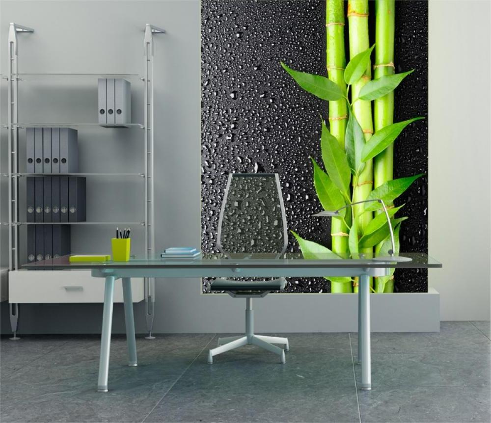 Grey office with glass desk and transparent chair, with bamboo wall print